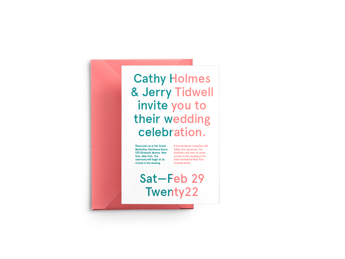 White wedding invitation design with half blue text and half pink text in front of a pink envelope.