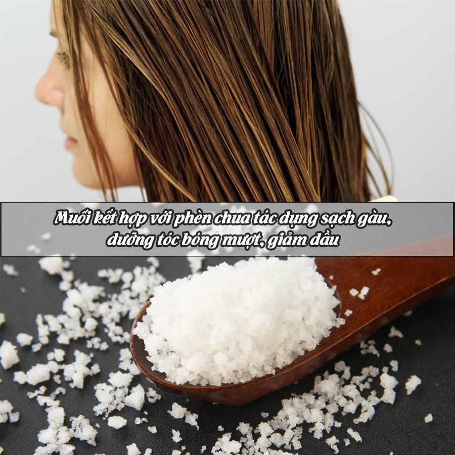 dùng muối và phèn chua trị gàu ống