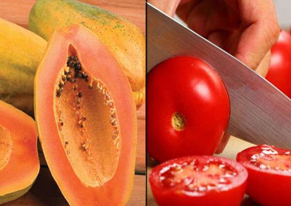 cách tẩy lông mặt và ria mép bằng cà chua và đu đủ