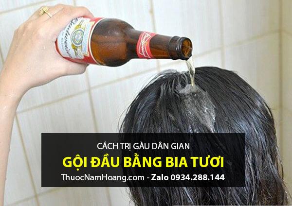 cách trị gàu bằng bia