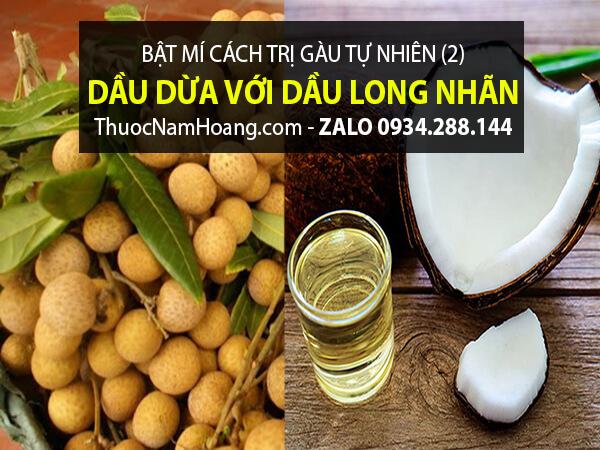 Trị gàu bằng tinh dầu long nhãn & dầu dừa