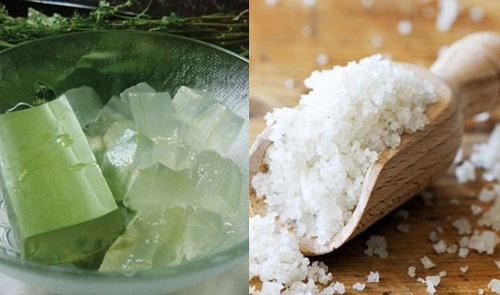 Nha đam và muối trắng loại bỏ gàu