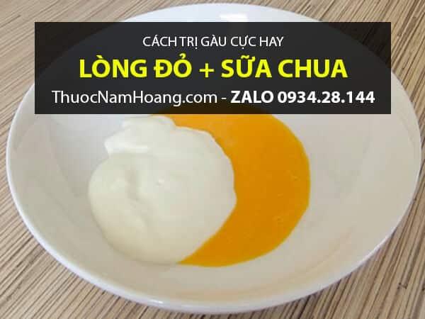 Lòng Đỏ Trứng Gà với Sữa Chua trị gàu