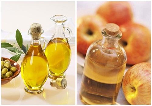 Sử dụng dầu ô liu kết hợp với giấm trị chàm