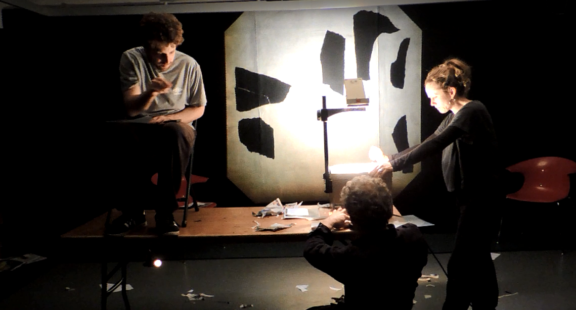 Image from early Fragments R&D - November 2014. Workshop performers: Tom Espiner, Ben Hadley, Bella Heesom, Victoria Moseley