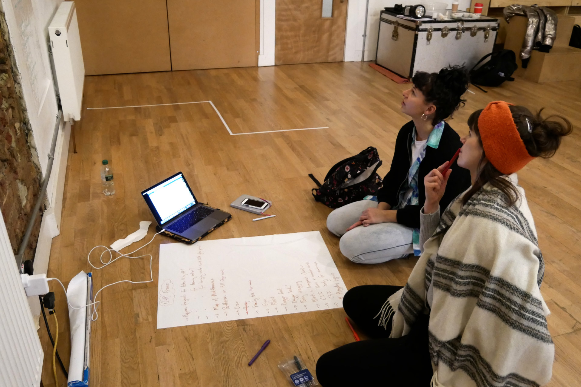 Jess and Lori, our puppetry director and associate, kneel on the floor of a rehearsal studio, staring thoughtfully at a list on the wall, surrounded by a laptop, pens and large sheets of paper.