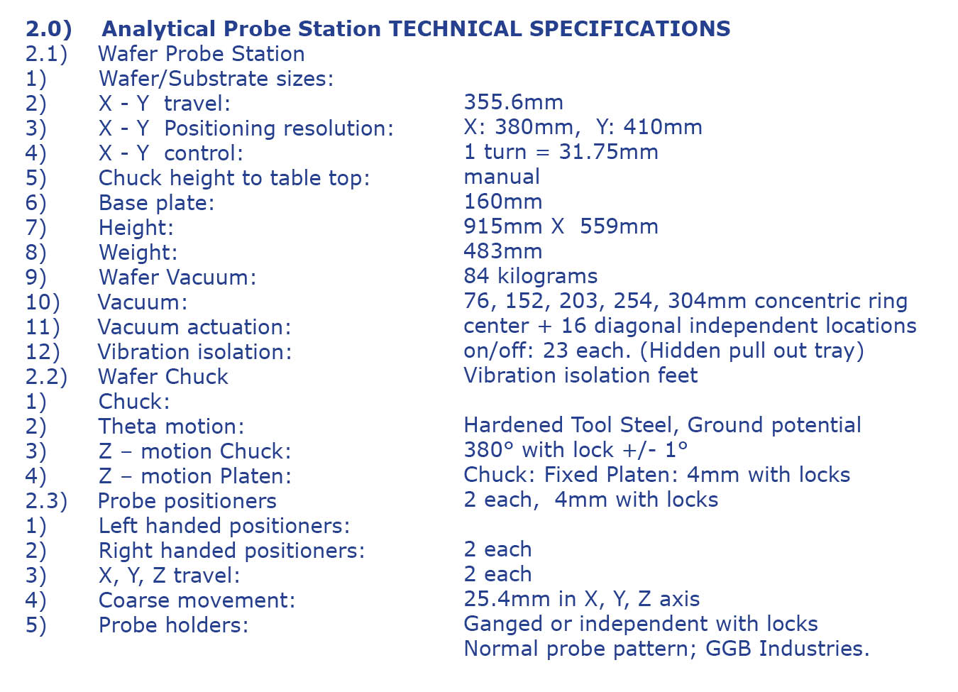 chart - analytical probe station technical specs