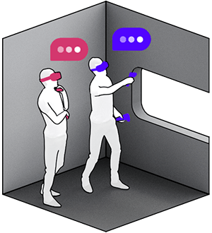 Two persons interacting in a virtual space
