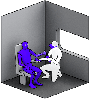 A person examines a virtual seat on which an anthropometric doll sits