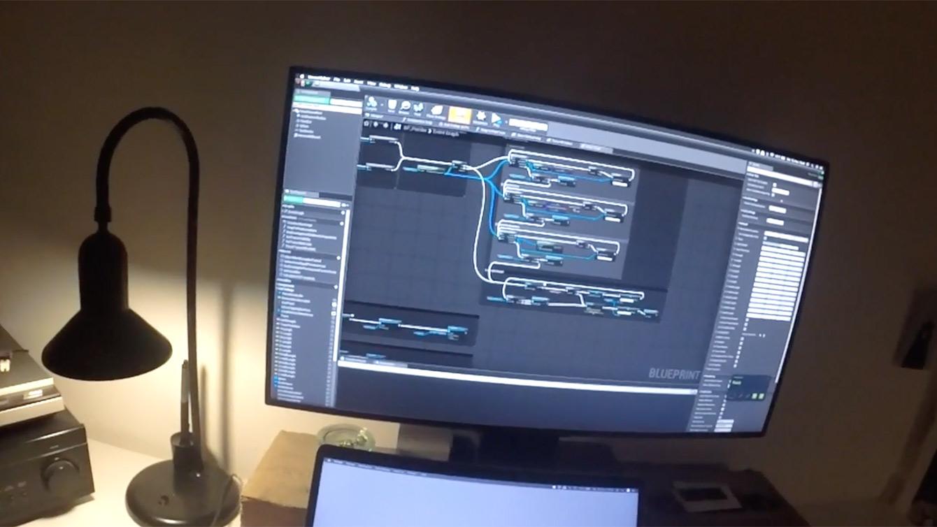 Blueprints shown on a Screen