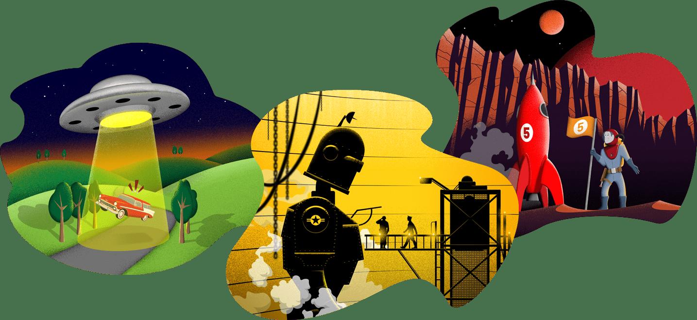rocket five illustrations
