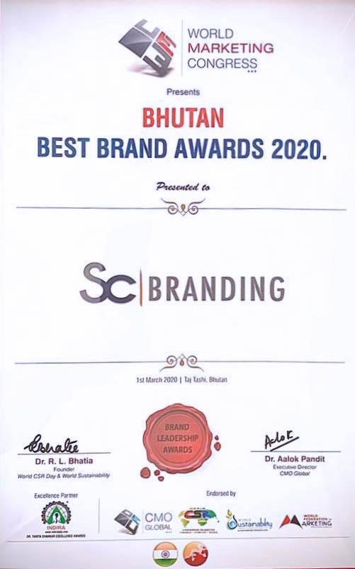 Best brand award Bhutan SC Branding