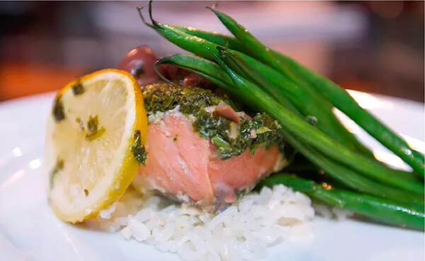 Baked Salmon on Rice