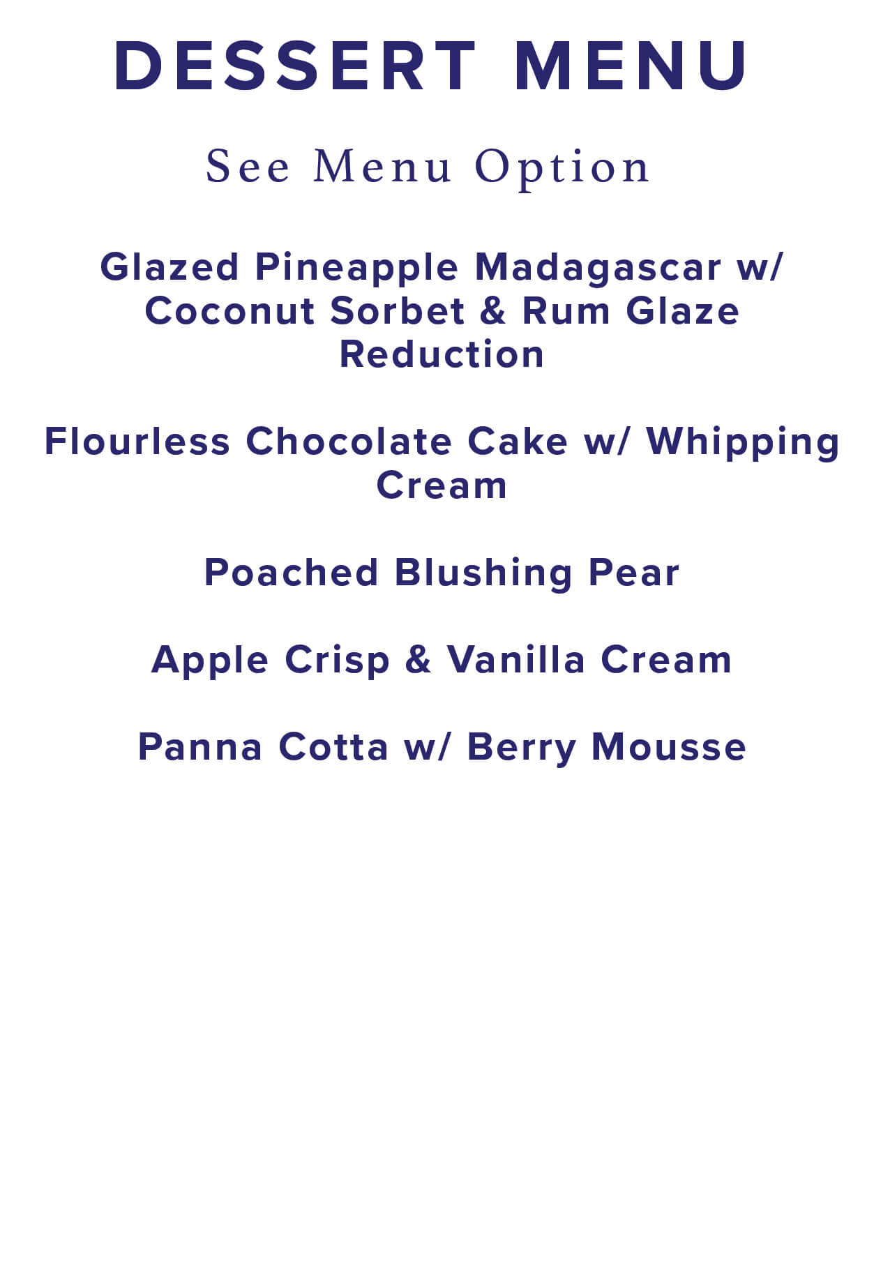dessert menu selection
