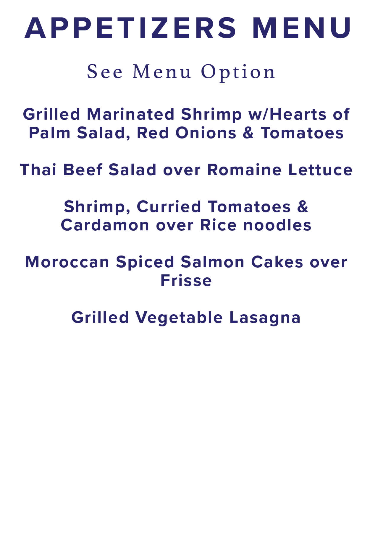 Appetizers menu selection