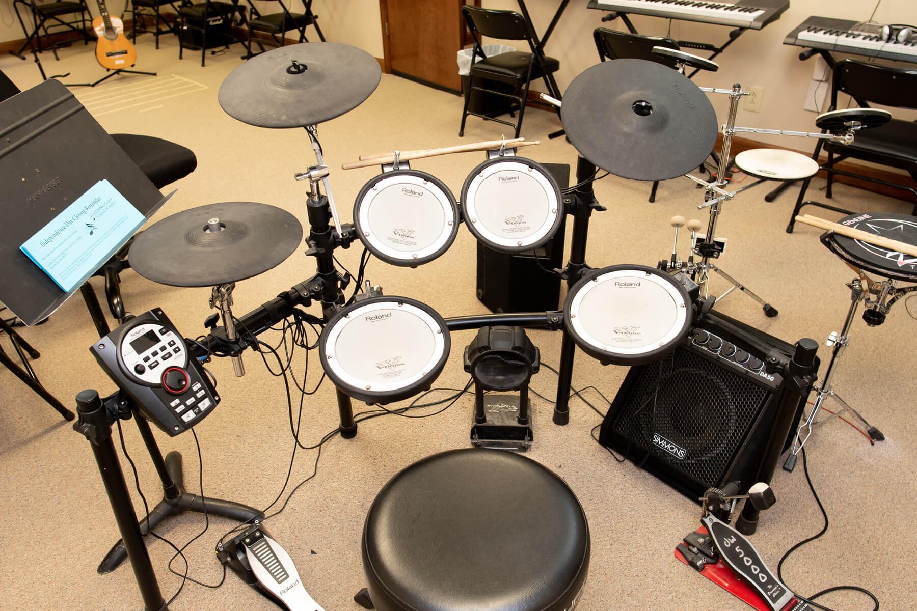 Lexington School of Music digital drum kit available for drum lessons.