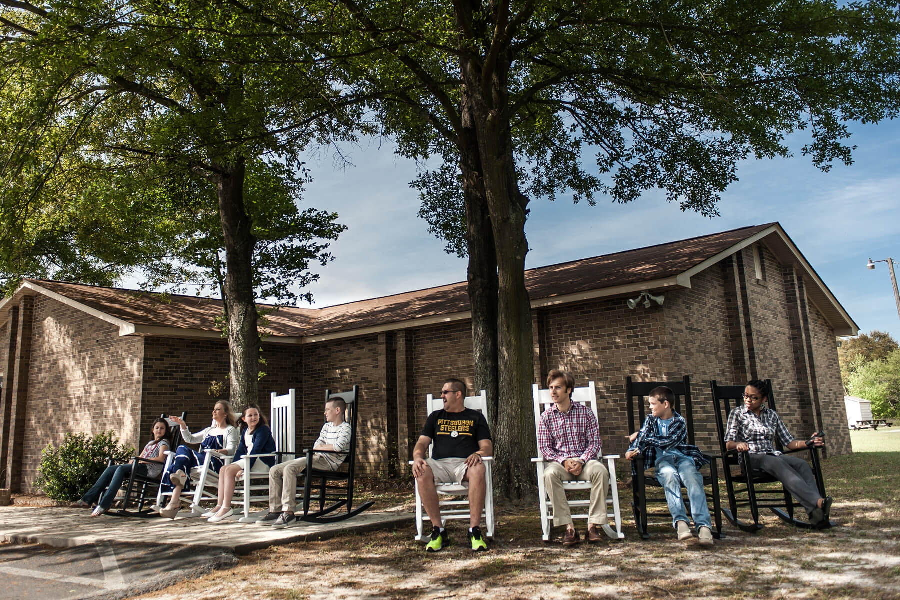 Outdoor rocking chairs at Lexington School of Music