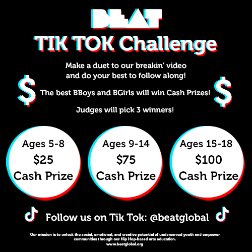 Graphic shares information about the challenge and the three cash prizes: a child aged 5-8 will win $25, aged 9-14 will win $75 and aged 15-18 will win $100. Winners announced on August 14, 2020.