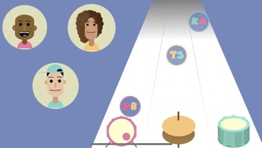 Still from BEATbox Band series with three cartoon characters heads in circles next to track with drums and visual cue bubbles.