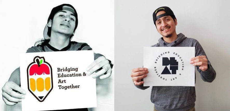 Side by side images of Luiggi Montanero in High School and in 2020. He holds a piece of paper with the BEAT logo.