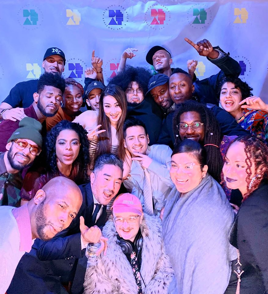A selfie of staff, teaching artists and alumni at BEAT's 2019 Gala