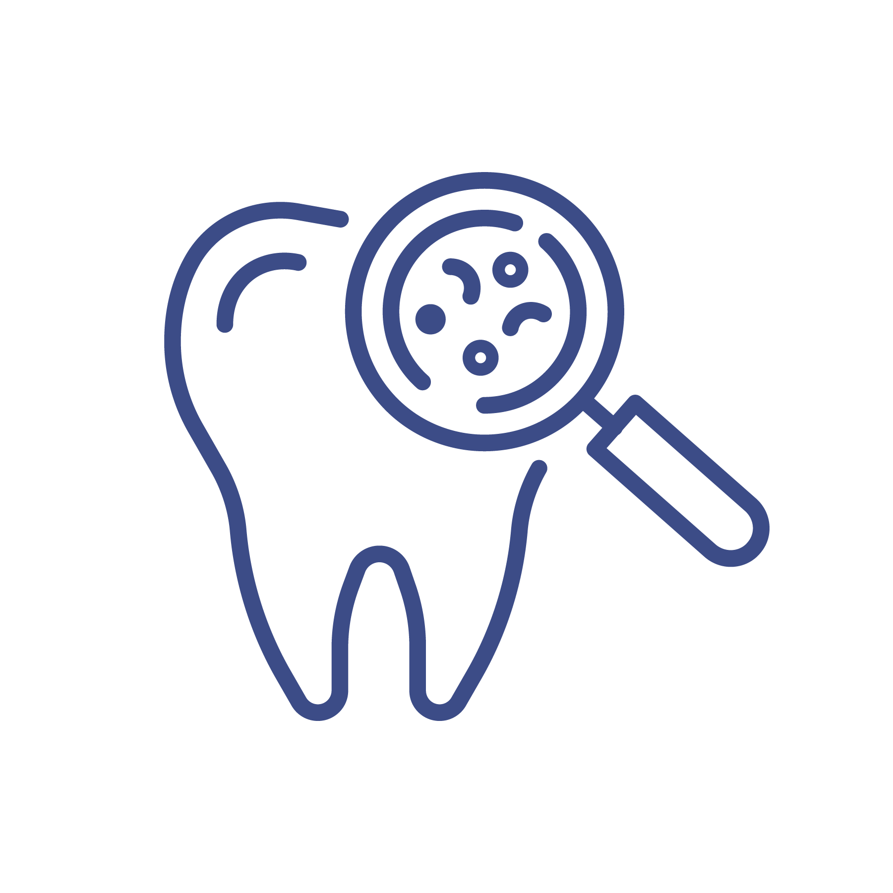 tooth and magnifying glass icon