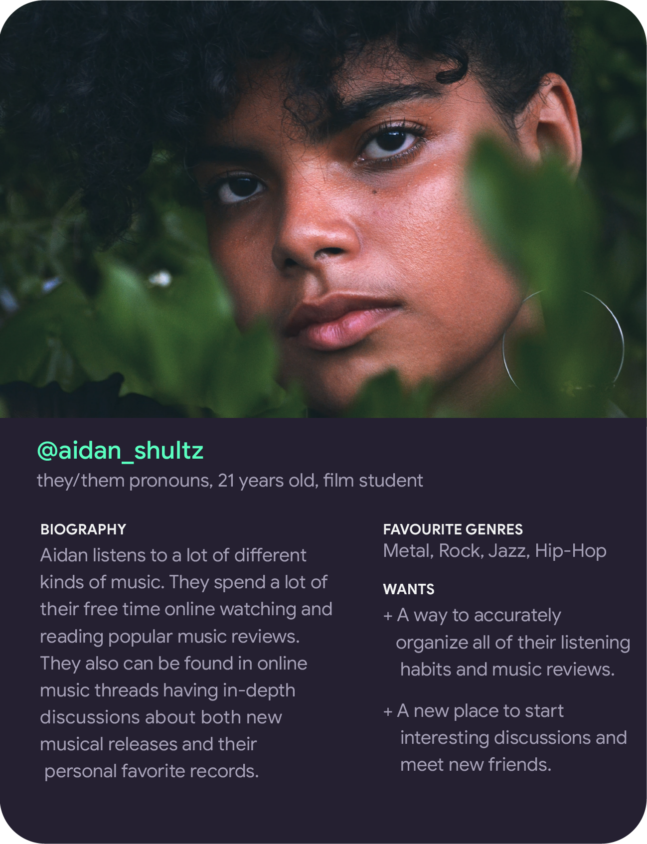 Persona of Aidan Shultz