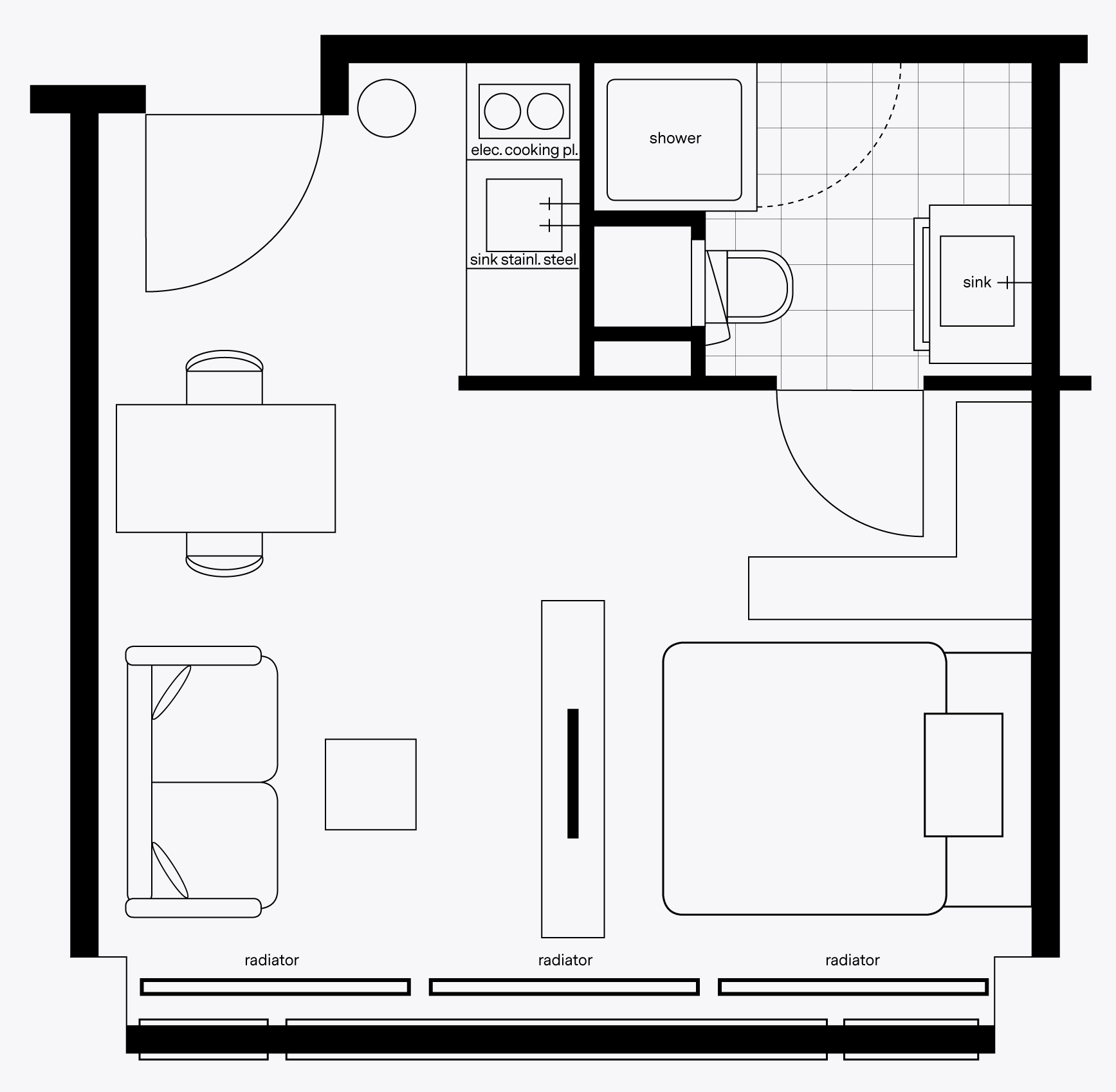 OurCampus two person apartment unfurnished floorplan