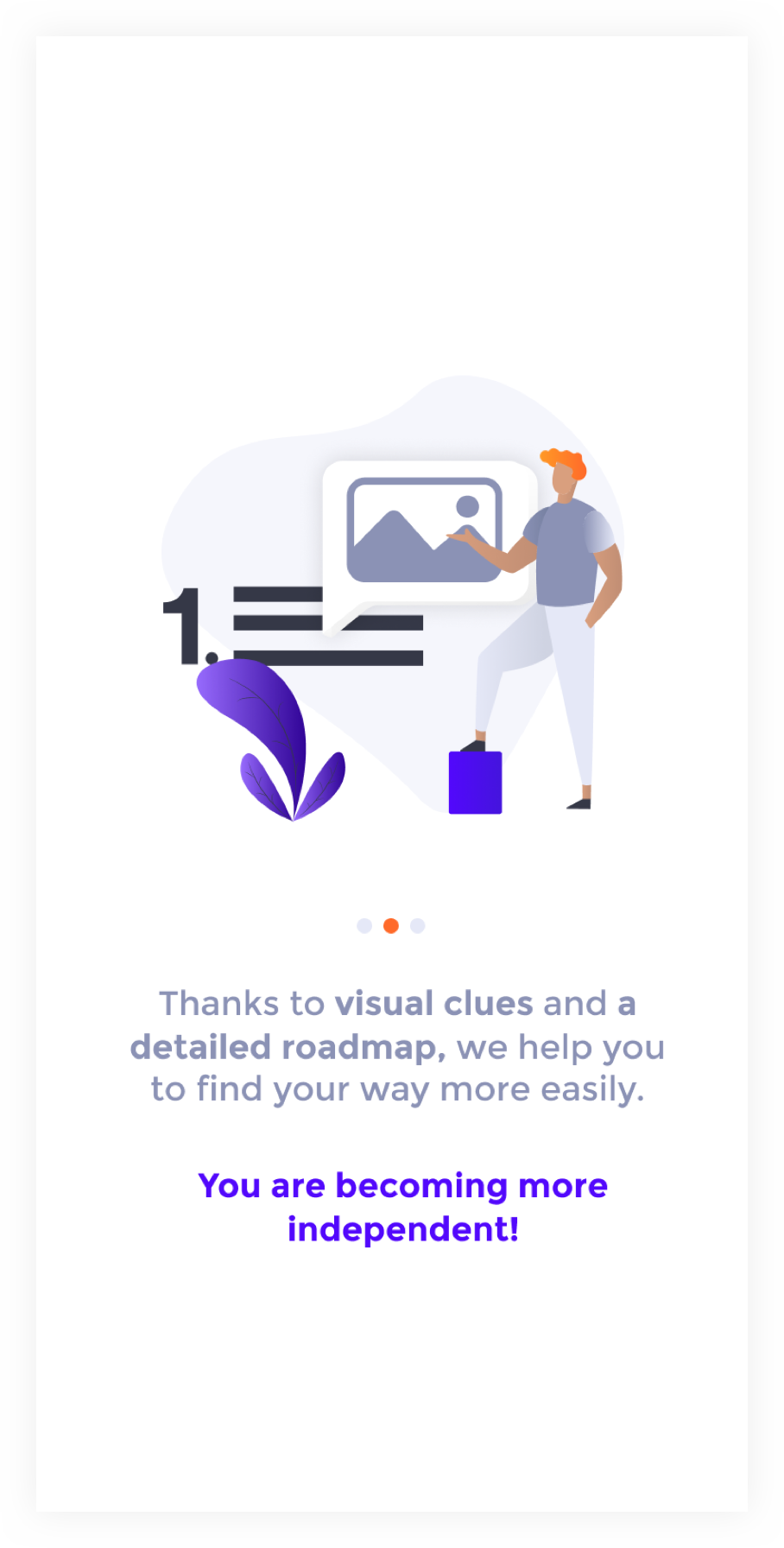 Onboarding screen 1 : illustration with a man that shows an image