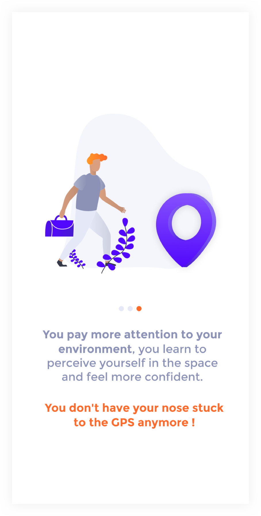 Onboarding screen 1 : illustration of a man that walks towards a point of interest