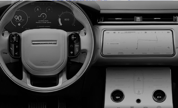 Picture of the inside of the Range Rover Velar with our screens