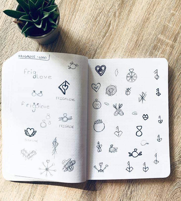cahier avec des croquis de logos