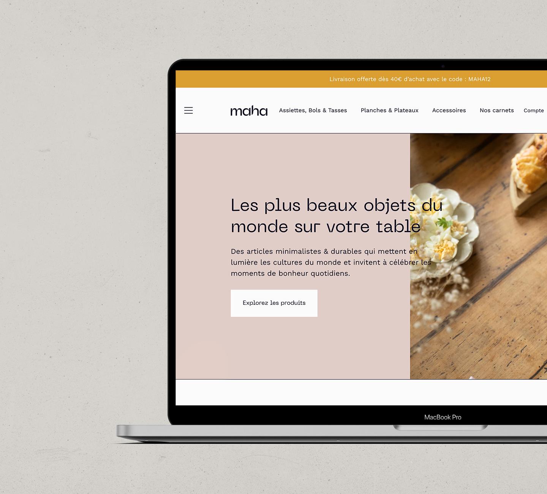 page d'accueil site internet Maha