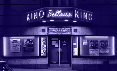 night shot of the Bellaria Cinema Entrance