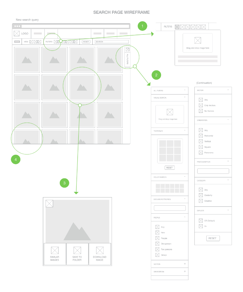 YayImages search page digital wireframe 1
