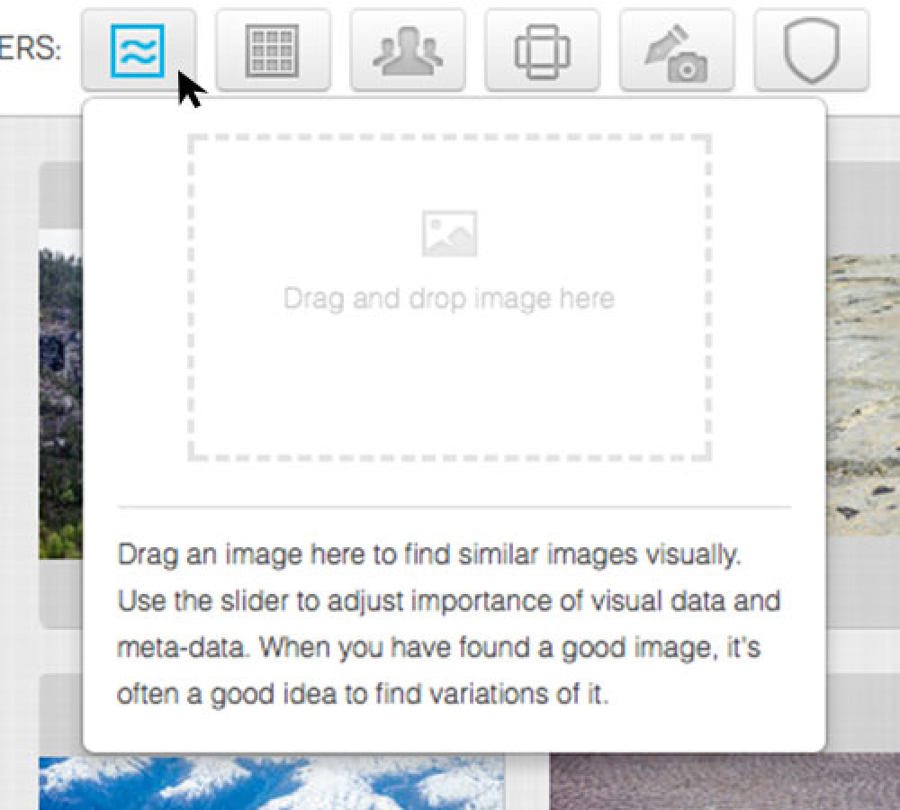 YayImages search page visual search filter
