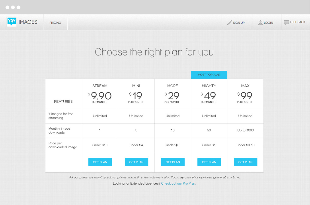 YayImages subscription page pricing