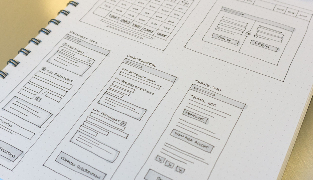 YayImages subscription page sketch wireframe