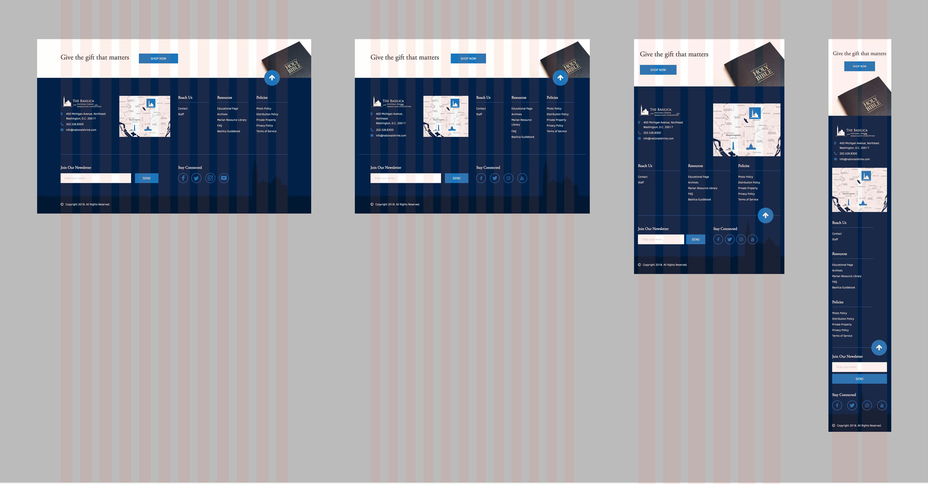 Basilica's responsive footer section mockup