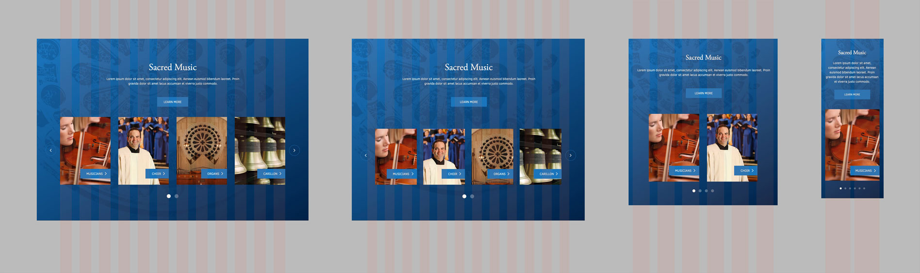 Basilica's responsive sacred music section mockup
