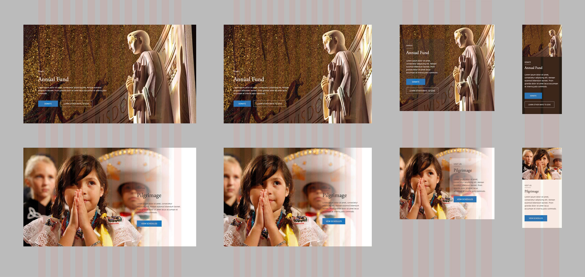 Basilica's responsive donation section mockup