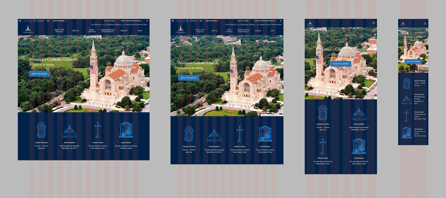 Basilica's responsive home section mockup