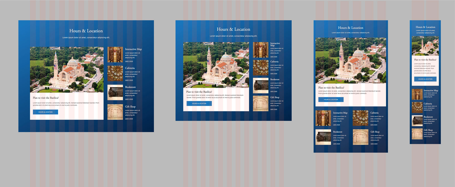 Basilica's responsive hours and location section mockup