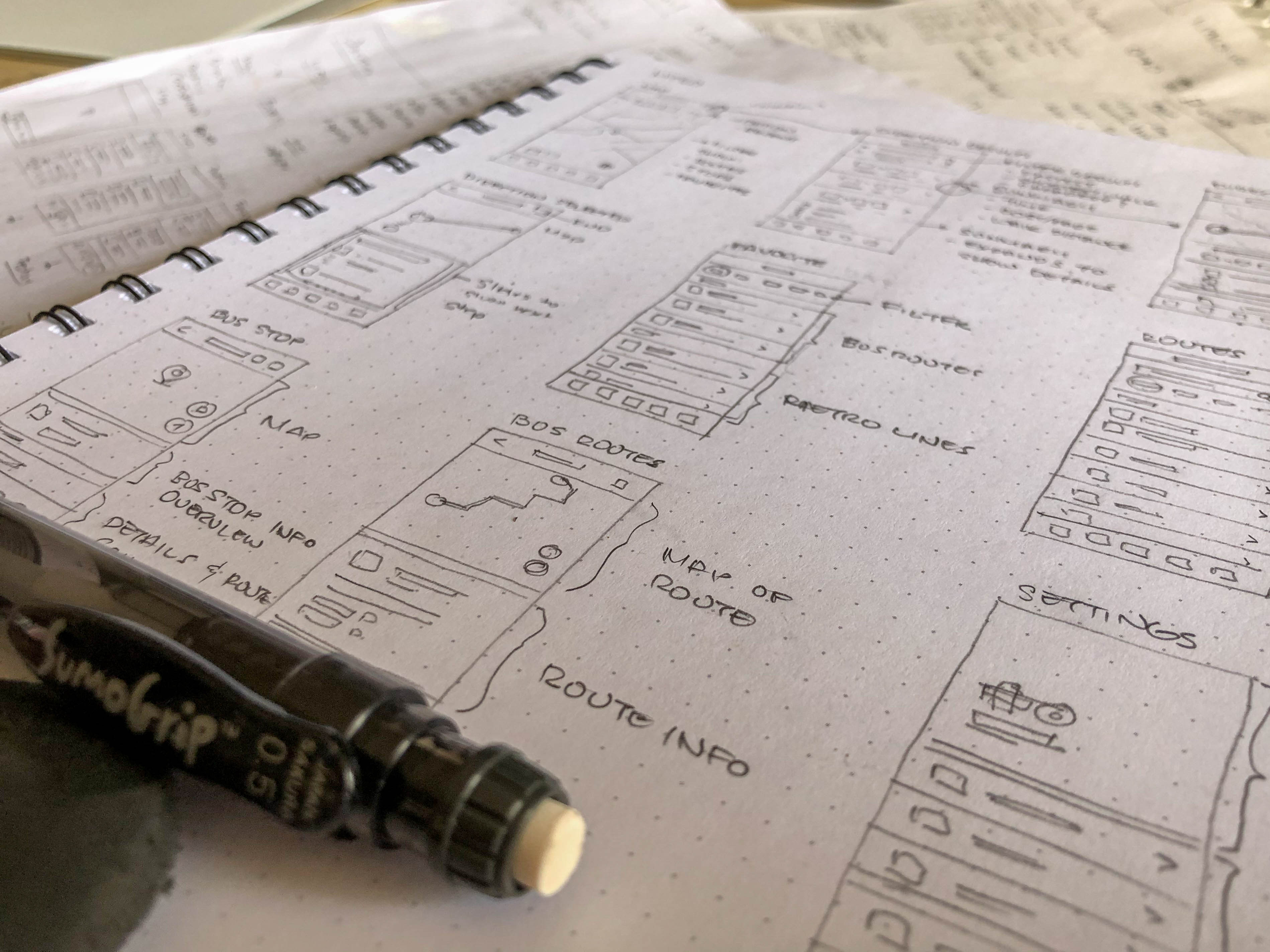 MTRO wireframe sketch