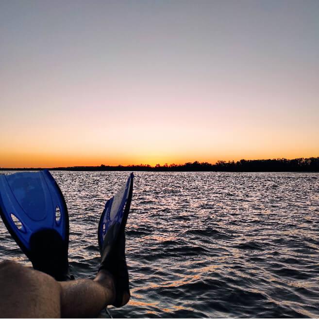 River, sunset, swim