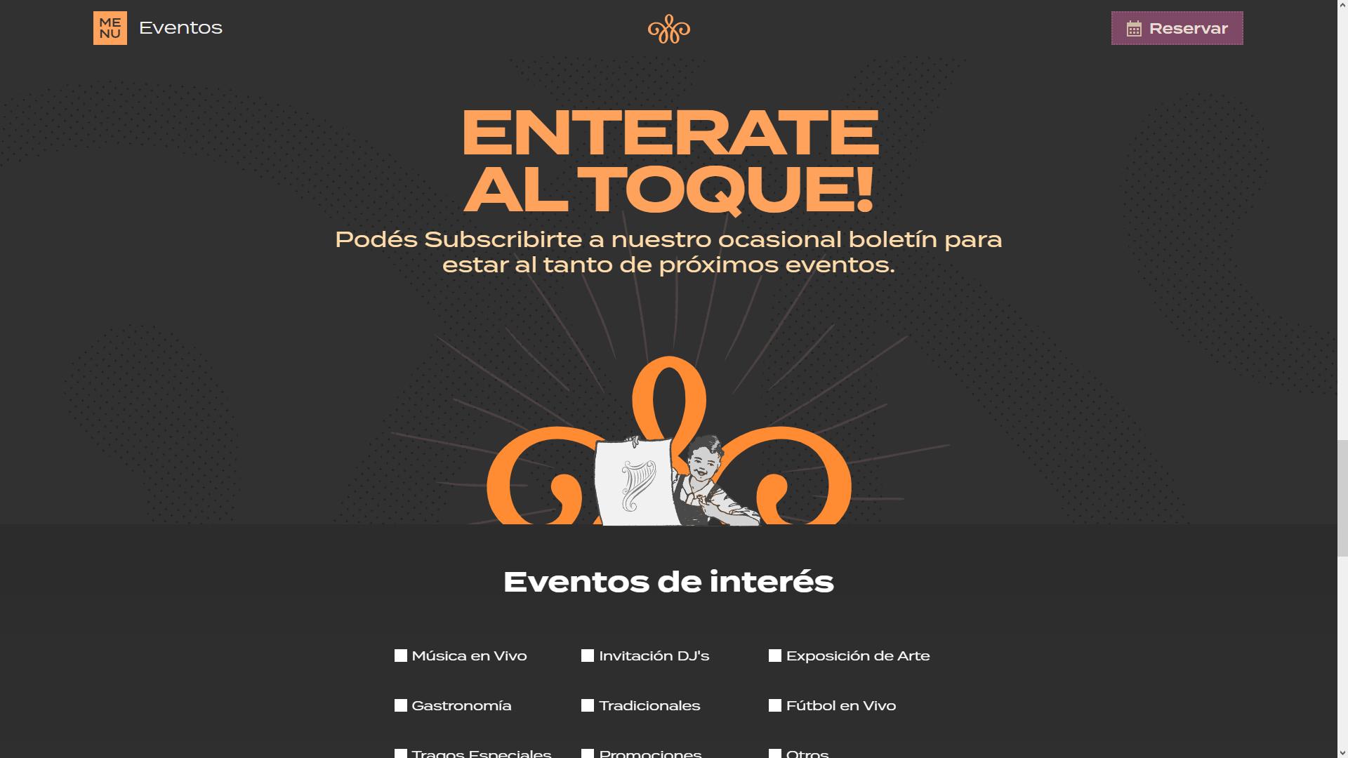 "Pagina ""Eventos"" , interfaz de Usuario"