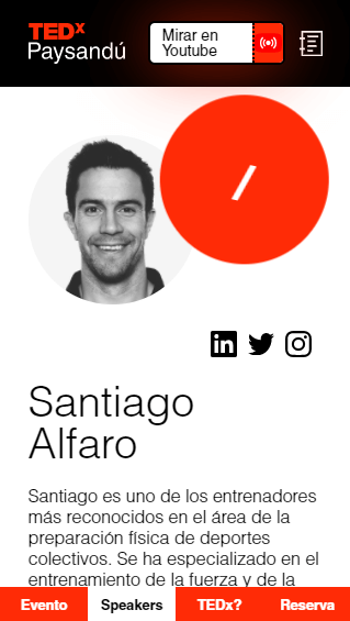 Mobile view of the webpage of TEDx Paysandú