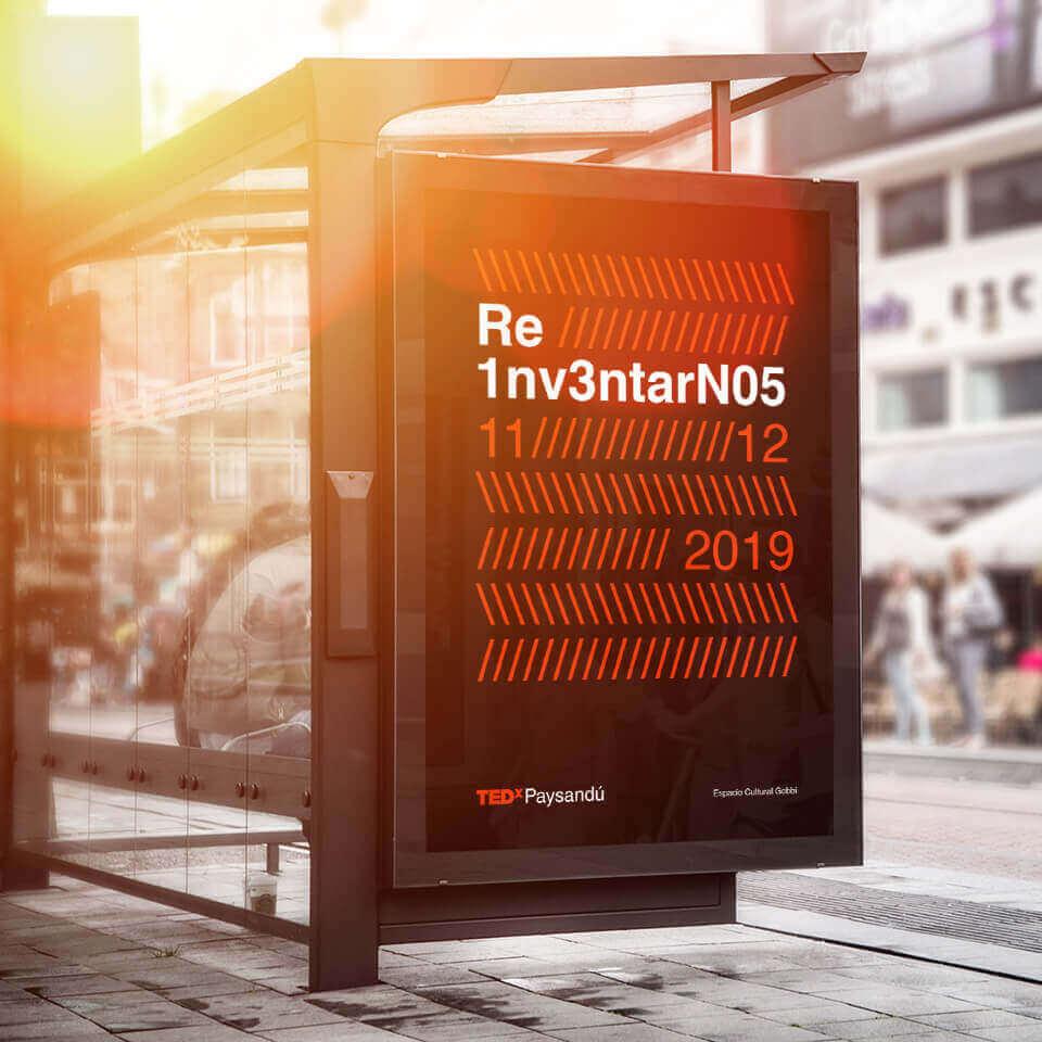 TEDx Paysandú bus stop bilboard
