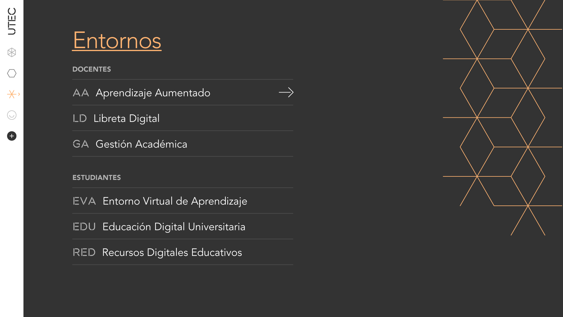 Desktop view of website Menu, Entornos
