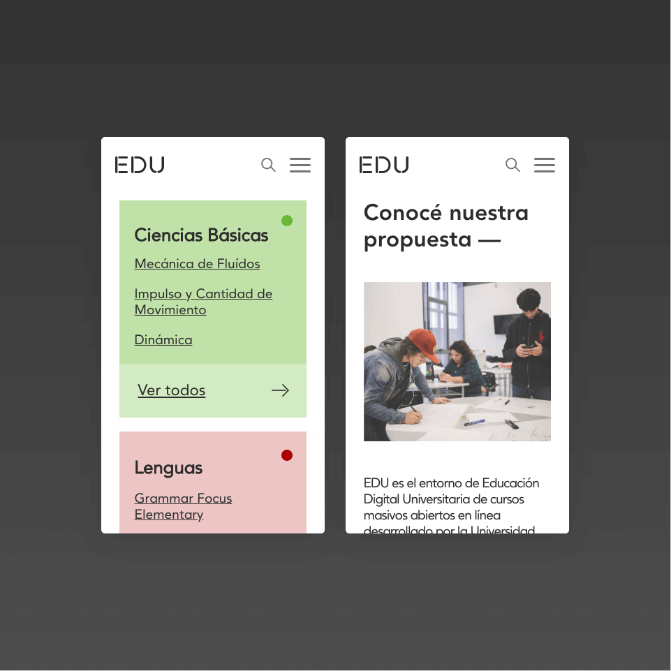 Mobile view of website